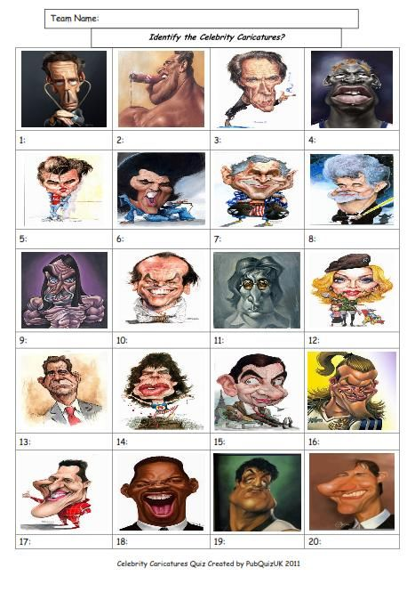 Celebrity Caricatures Picture Round, £1.99