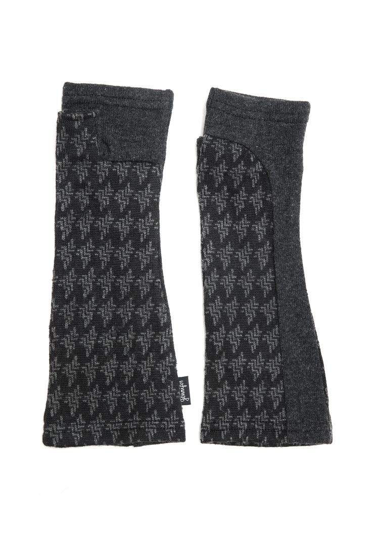 The perfect gloves for any outfit! Charcoal gray and black upcycled sweater knit arm warmers by Jennifer Fukushima.