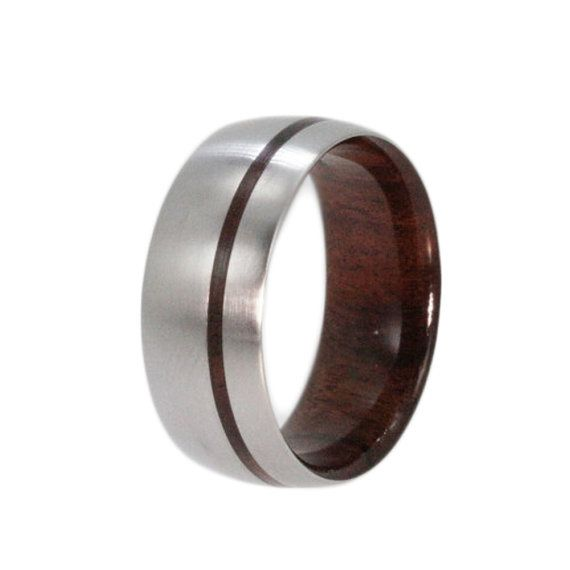 Titanium Ring Bolivian Rosewood Wedding Band by jewelrybyjohan