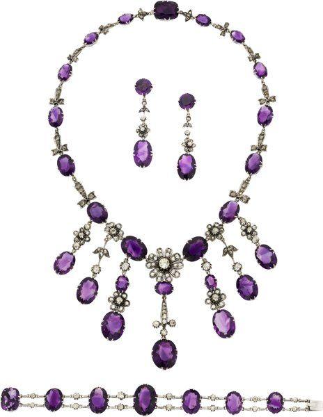 Estate Jewelry:Suites, Art Deco Amethyst, Diamond, White Gold Jewelry Suite. ...