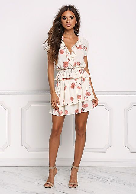Cream Floral Ruffled Cinched Blouse CollectiveStyles.com ♥ Fashion   Women apparel   Women's Clothes   Dresses   Outfits   Rompers   PlaySuits   Boohoo   Express   Off The Shoulder   #clothes #maxi #fashion #dresses #women #tops #shop Summer nights out #outfits: Blue Sleeveless Tribal Print Bodycon Dress