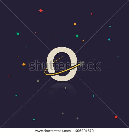 Letter O logo with swoosh and rocket, space themed