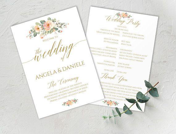 Peach Blush Wedding Program, Peach Gold Wedding, #weddings #invitation @EtsyMktgTool http://etsy.me/2z9Aq4P