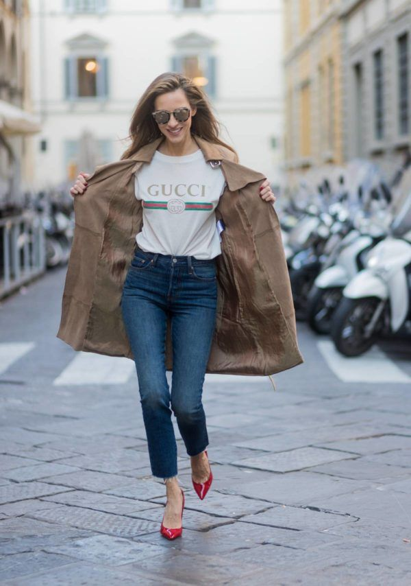 4da5b20eb0 Our Thoughts on the Logo Trend + 5 Ways to Pull It Off! | CITY STYLE GUIDE  | Leather trench coat, Gucci tee, Gucci shirts