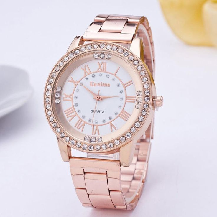 Female Watches Crystal Rhinestone stainless steel fashion rose gold watch For Women wristwatches quartz watches 3Colors