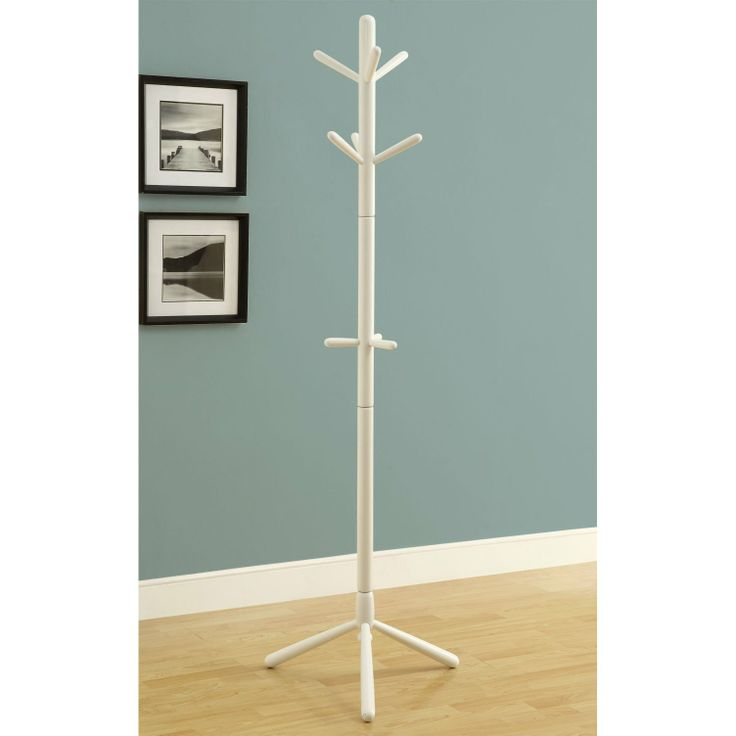 FurnitureMaxx White Contemporary Solid Wood Coat Rack : Coat Rack U0026 Hall  Trees