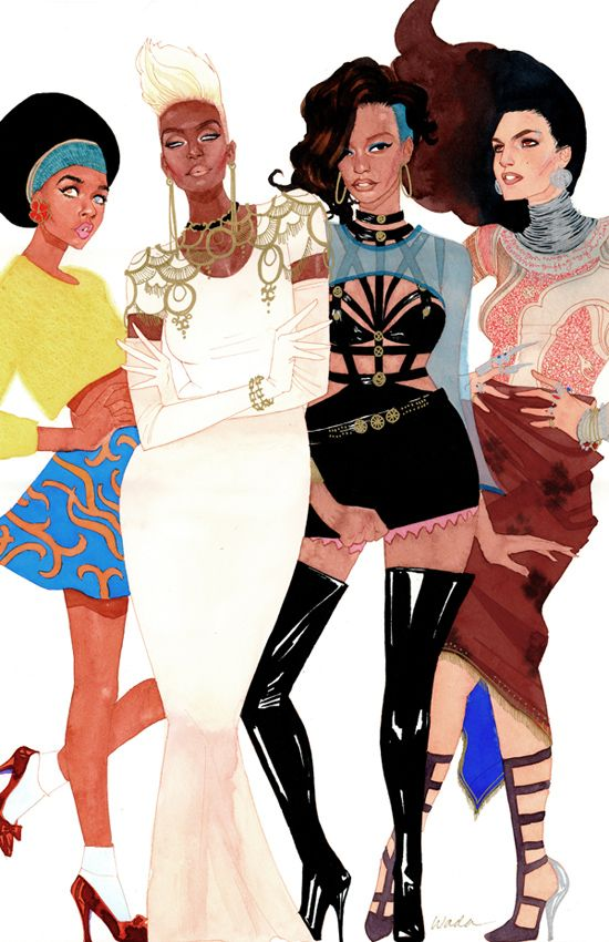 X-(wo)Men of Color in 90's fashions. Illustration by Kevin Wada. Gorgeous!