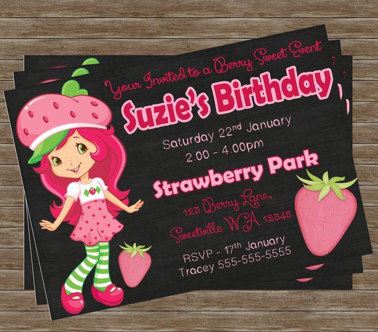 strawberry birthday invitation - 736×647