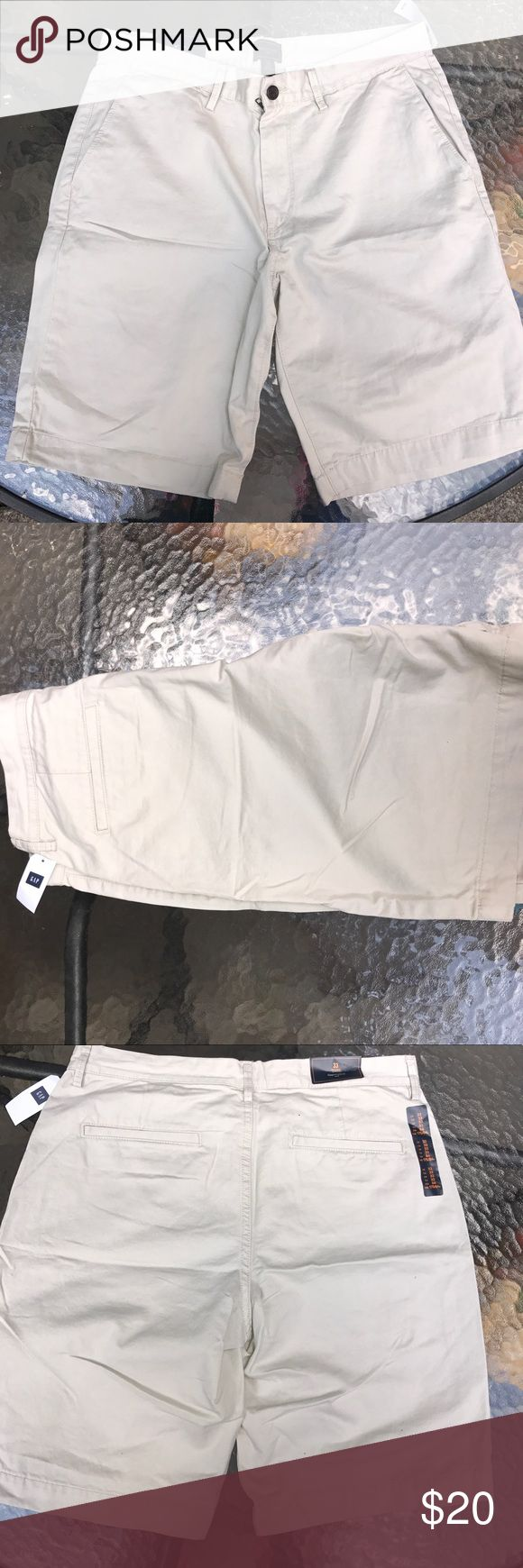 Men's Khaki Shorts Tan Khaki shorts size 33 waist perfect for the summer weather . Never worn GAP Shorts Flat Front