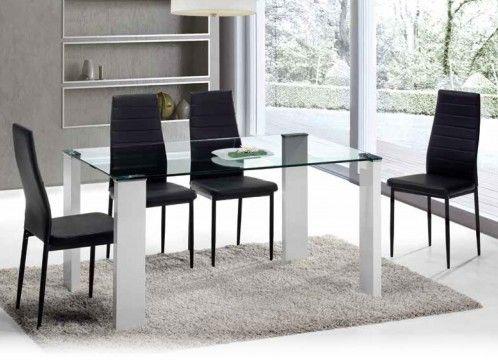 Mesa de comedor moderna, patas lacadas en blanco y tapa de cristal templado.