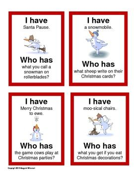 I-Have-Who-Has-Christmas-Puns-Game-418941 Teaching Resources - TeachersPayTeachers.com