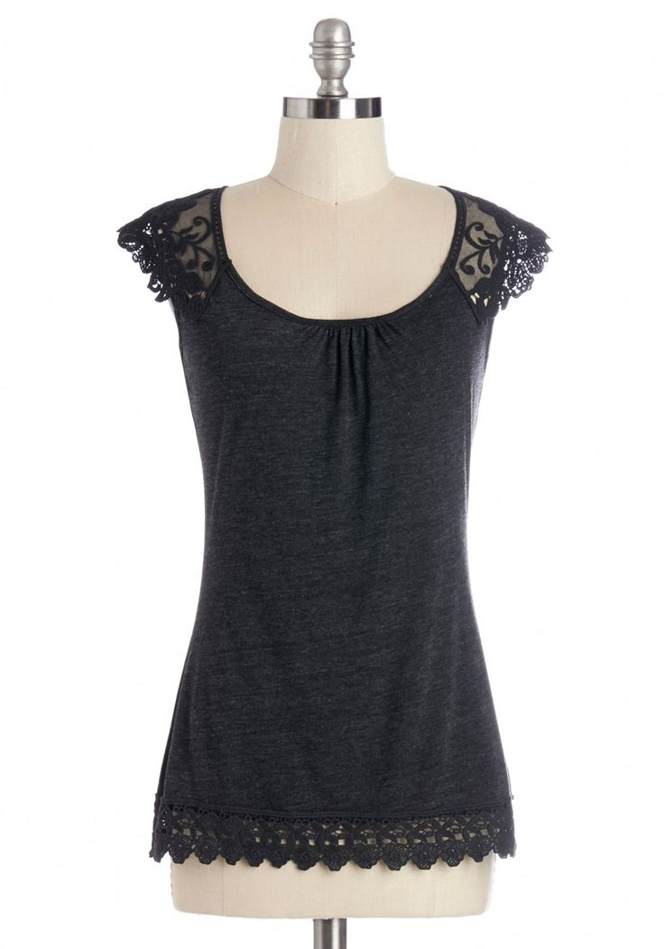 Grace and Lace Top in Charcoal. With intricate lace sleeves resting at the shoulders and upper back, this heathered charcoal top exudes an air of grace as you go about your day. #grey #modcloth