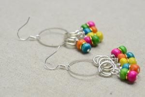 How to Make Rainbow Loom Earrings with Multi-Colored Wood Beads and Golden Jump Rings - Pandahall.com by wanting