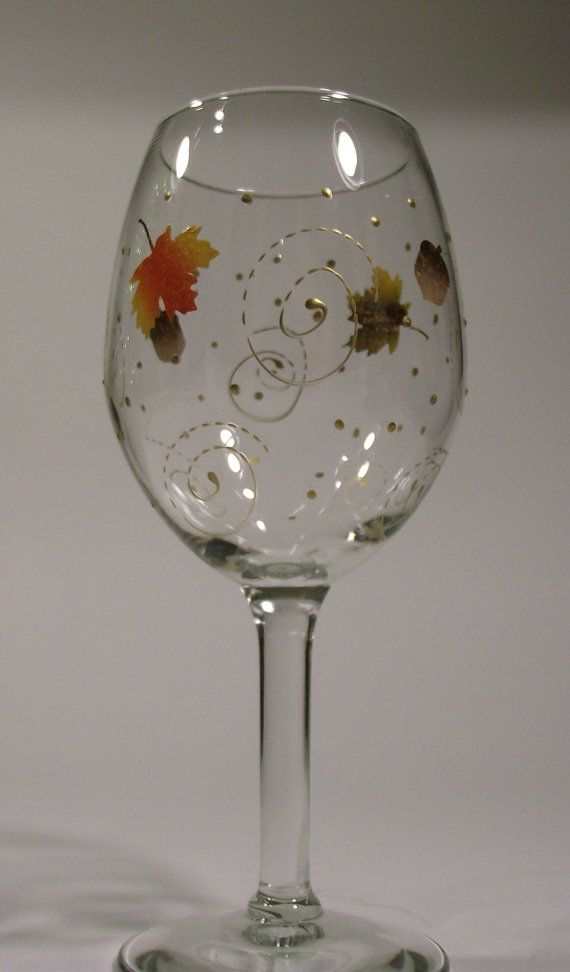 Painted Wine Glass with Fall Leaves and Golden by PrettyStrokes, $9.00