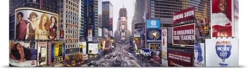 Poster Print Wall Art Print entitled Dusk Times Square New York NY, None