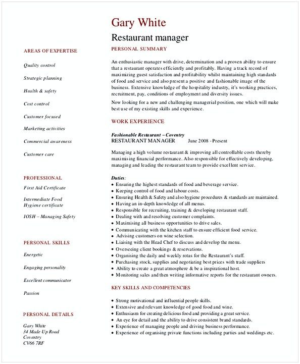 The 25+ best Restaurant manager ideas on Pinterest Restaurant - bar manager sample resume