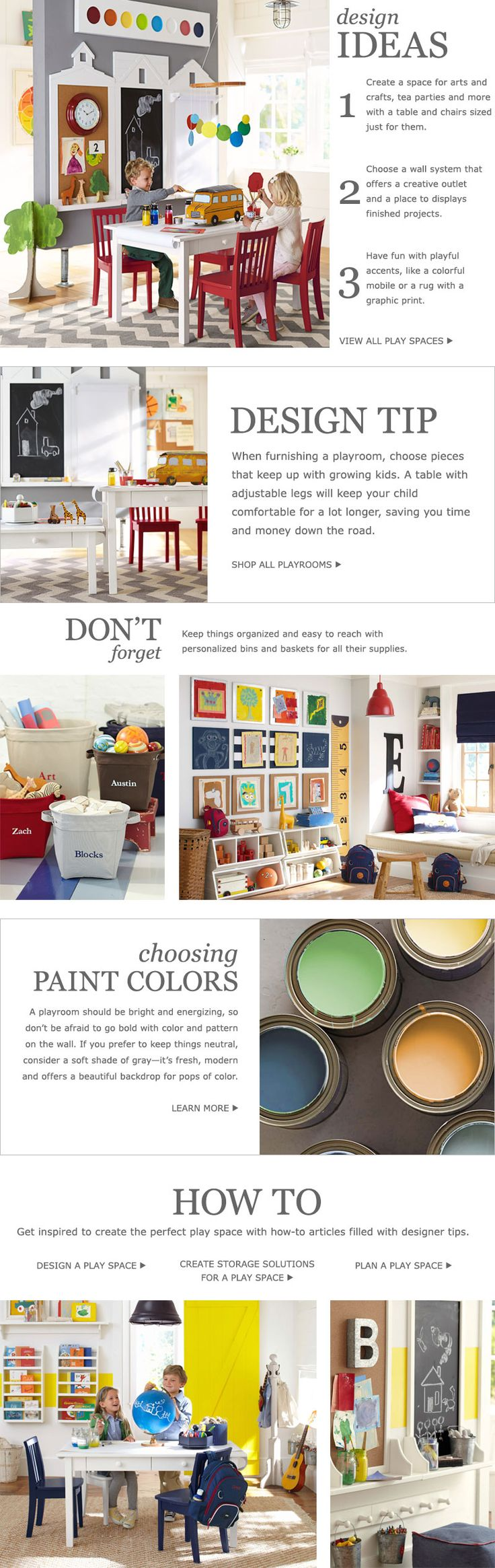 Play Room Ideas & Toy Room Ideas | Pottery Barn Kids. LIke the bulletin board for artwork.