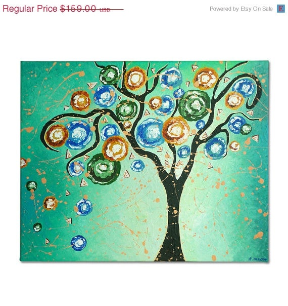 Tree of Life Acrylic Painting on Canvas  by hjmArtGallery on Etsy, $135.15