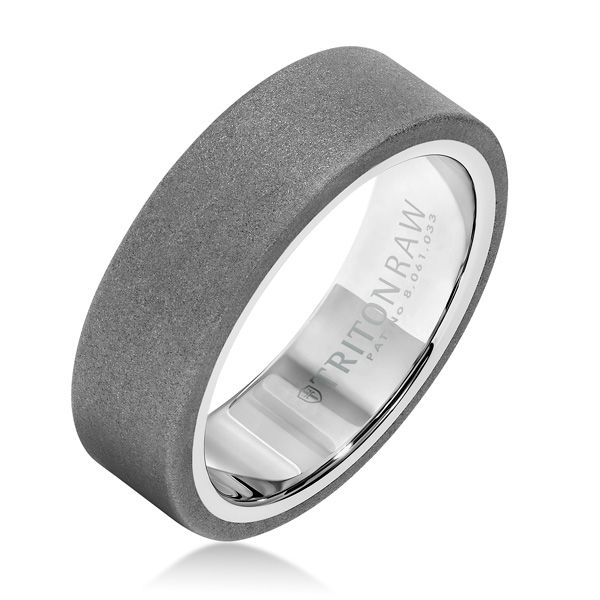 Classic style with a twist is the best way to describe this 7mm Tungsten Carbide band with raw matte finish. Exterior is offset by high shine white nano-tech coating inside.  Ring by TritonRAW