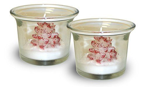 Christmas Tree Candles - Set of 2 Snow Coated Red Christmas Tree Candles with Glass Holders