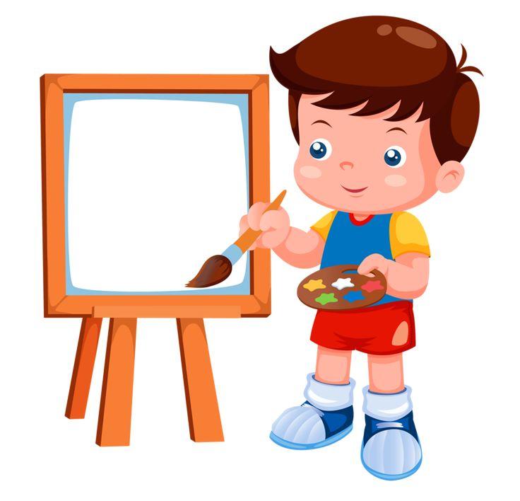 Мальчик рисует картинки, про кошак надписями