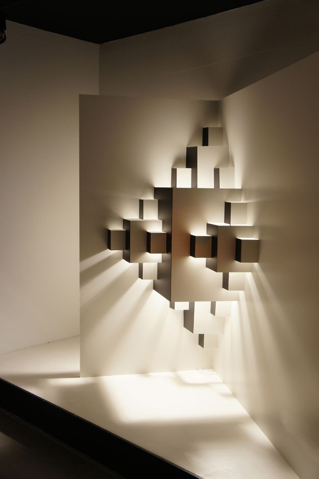 PIXEL  Window display, light installation, paper. Dimensions 2.5 x 3.  WELL WELL DESIGNERS