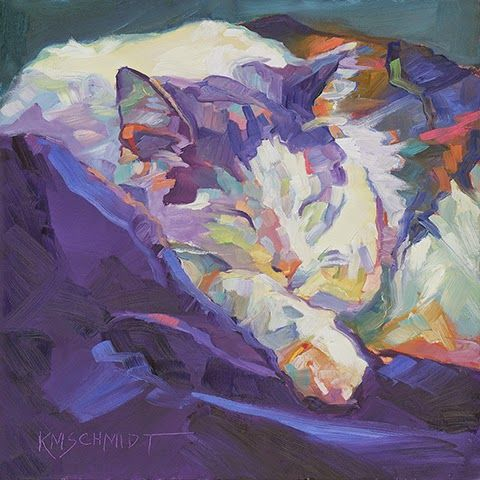 """Just Animal Pet Art Paintings by Louisiana Artist A Royal Nap  © 2015 Karen Mathison Schmidt 8 x 8 x ¾ inches • oil on ¾"""" deep cradled Ampersand Museum Series GessobordTM  private collection • Derby, Kansas"""