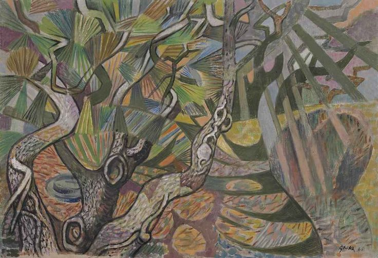 Nikos Hadjikyriakos-Ghikas (Gr., 1906-1994), Pine Needles, 1966, huile sur toile, 45,5 x 66 cm