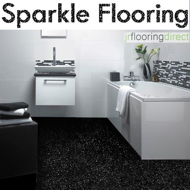 Details about black sparkly bathroom flooring glitter for Lino bathroom floor tiles
