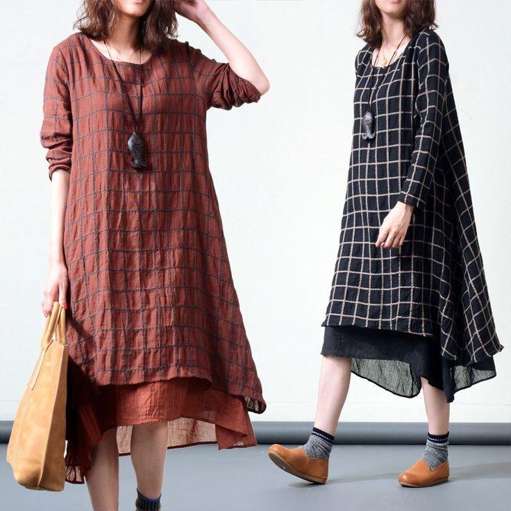Dress - Plaid Long-sleeved Cotton Linen Dress  $66
