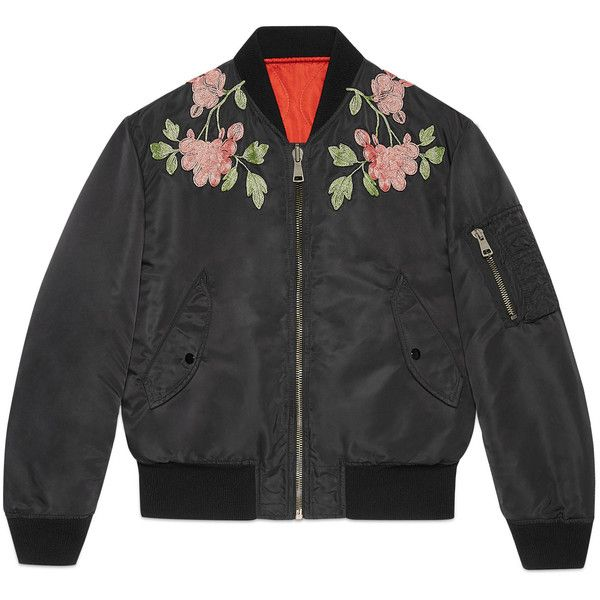 Gucci Reversible Nylon And Silk Bomber Jacket (4 680 AUD) ❤ liked on Polyvore featuring men's fashion, men's clothing, men's outerwear, men's jackets, black, mens padded jacket, mens nylon bomber jacket, mens quilted jacket, men's embroidered bomber jacket and gucci mens jacket