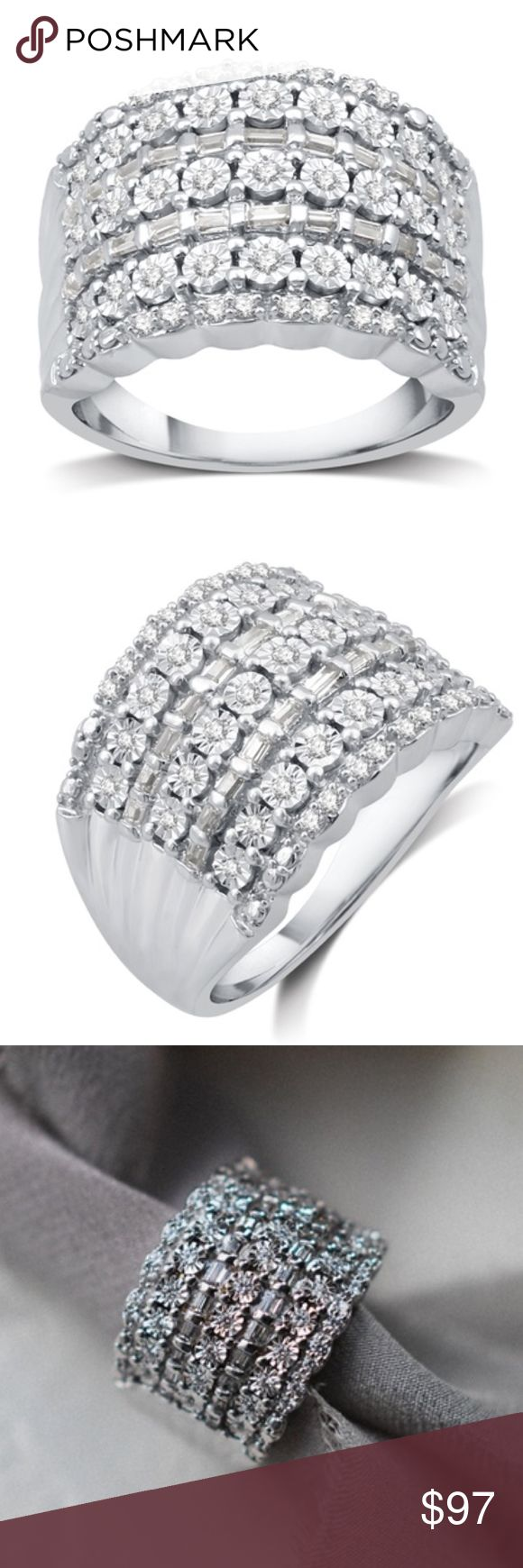 NEW Round Baguette Diamond Ring Sterling Sz 9 1/2 CTTW Round and Baguette Diamond Ring in Sterling Silver by DeCarat Cut: very good Color: I–J Clarity: I2–I3 Total carat weight: 0.52 Type: diamond Treatment: genuine Total number of stones: 65 Stone shape: round and baguette Stone enhanced: no Metal: sterling silver Is metal solid?: yes Plating: rhodium Finish: high-polish Setting type: nick, prong, and channel Nickel-free: yes Hypoallergenic: yes Weight: 6.16g Band width: 2mm Full…