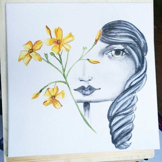 Now in #nemi and it can be yours!  #artinthebox #artecontemporanea #artistoninstagram #kunst #konst #galerie #art #yellow #christmaspresent #jasmine #winterflowers #igerslazio #castelliromani #roma #canvas #charcoal #acryliconcanvas #flowers #igdaily #målning