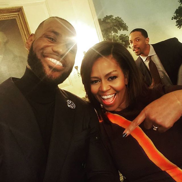 Just messing around with FLOTUS!! Really @realcfrye!?!? Come a long way from Akron man! So damn blessed and humbled. #StriveForGreatness #RWTW #TheKidFromAkron