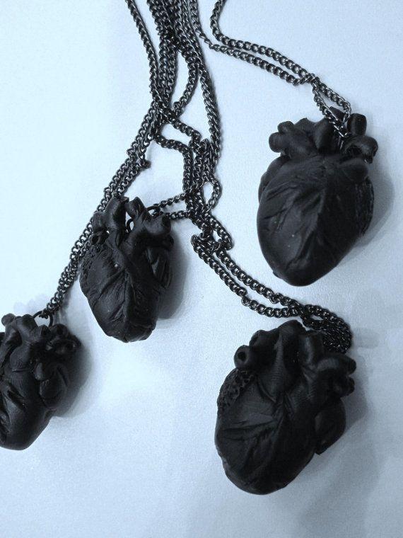 Black Heart anatomical matte black hand sculpted heart pendant necklace The Black Dahlia