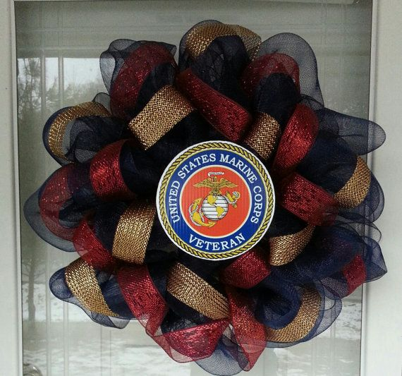 Us Marines Corp Usmc Deco Mesh Ribbon Wreaths More Mesh