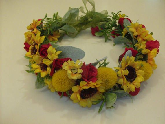 Bride Flower Crown. Wedding Hair Wreath. Sunflower Red Rose Billy Balls Lambs Ear. Wedding Prom.