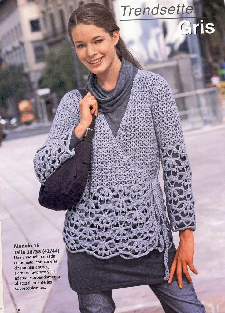 Chaqueta Tejida Cruzada Patron - Patrones Crochet
