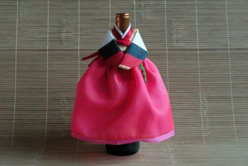 Handmade Korean traditional style Hanbok Women's clothes of Wine bottle Cover