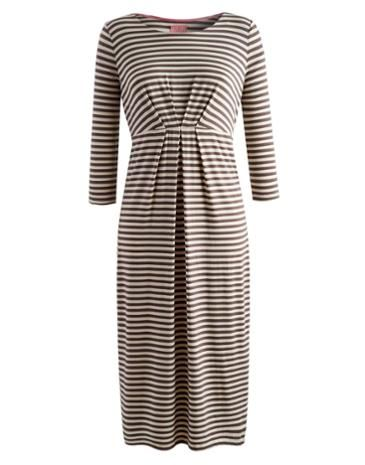 Joules Womens Below The Knee Dress, Praline Stripe.                     Our best seller is back! If you're looking for a midi length dress, cut to sit below the knee then look no further.  In our signature stripes or statement floral and crafted from soft jersey this dress, with a wide, higher neck line, it's sure to be a go-to favourite.