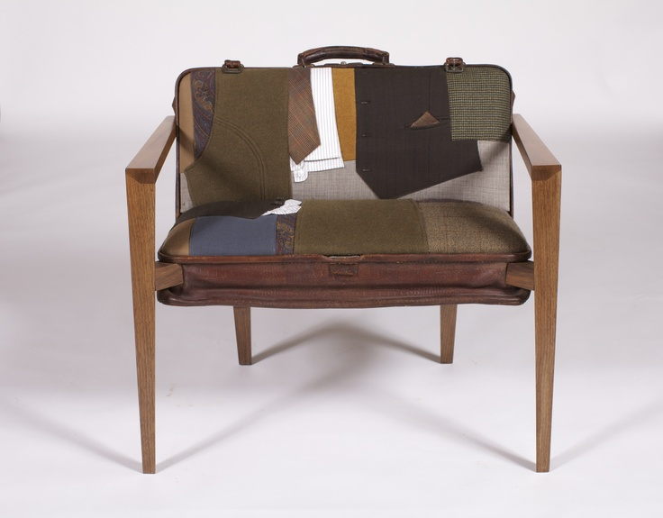 (April 2012), a leather case from the 1900s, once used to carry samples by a gentleman in the textile industry, is transformed into a seat. The woodwork is carefully considered to keep the wooden components as slender as possible so as not to obstruct the bag and be sure that they have their own refinement of design. French walnut is chosen to compliment the ancestry and sincerity of the original object .