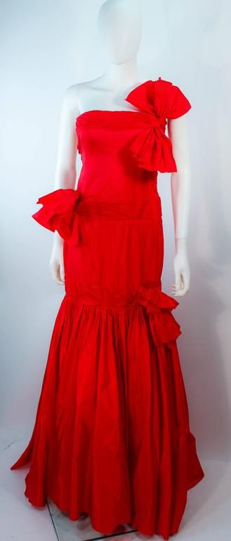 VALENTINO Red Silk Strapless Gown with Bows 1975-99