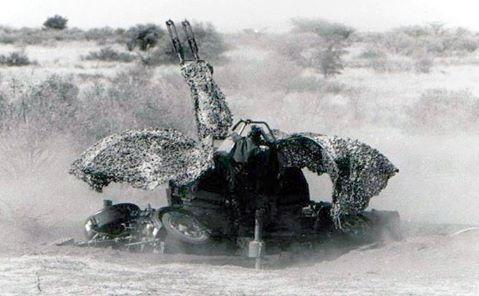 35 x 228mm Twin-Barrel Oerlikon Anti-Aircraft Gun in action.  Credit:  WE SERVED WITH PRIDE:  South Africans in the Military 1939-1994
