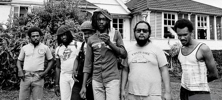 """PETER TOSH in 1978 at Chris Blackwell's Compass Point Studios in Nassau, Bahamas, with musicians of his backing band, Word, Sound & Power: drummer SLY DUNBAR, bassist ROBERT SHAKESPEARE, guitar player MICHAEL """"MAO"""" CHUNG, keyboardist ROBBIE LYNN and pianist KEITH STERLING…"""