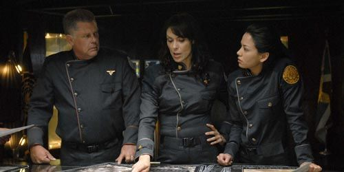 "Commander Fisk, Admiral Cain, Lieutenant Shaw of the Battlestar Pegasus in ""Razor"""