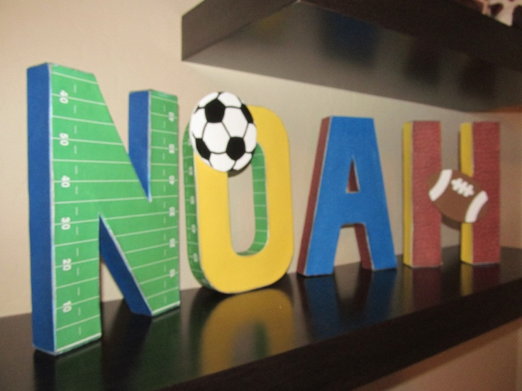Love these sports themed letters for my sweet boy custom for Letters for kids rooms