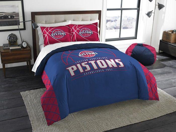 Detroit Pistons NBA Reverse Slam Full-Queen Comforter Set. Includes comforter and 2 shams.  Visit SportsFansPlus.com for Details.