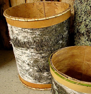 Ojibwe Birch Bark Waste  Basket