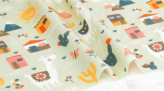 sewing Cute Cactus Patterned Fabric Quilt made in Korea Half Yard