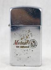 Vintage Zippo Slim Advertising Cigarette Lighter Mutual Of Omaha 1964